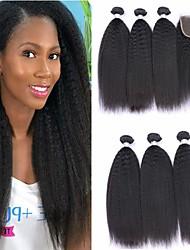 abordables -3 paquets avec fermeture Cheveux Brésiliens Droit crépu Cheveux Naturel humain Cheveux humains Naturels Non Traités Casque Tissages de cheveux humains Extension 8-20 pouce Couleur naturelle Tissages
