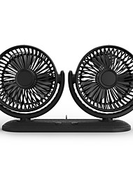 Недорогие -360 вращающихся свободно регулируемый вентилятор с двумя головками 3 скорости регулируемый тихий вентилятор USB для автомобиля / дома / офиса- черный