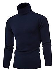 Недорогие -Муж. Однотонный Длинный рукав Пуловер, Хомут Осень / Зима Черный / Светло-серый / Белый US32 / UK32 / EU40 / US34 / UK34 / EU42 / US36 / UK36 / EU44