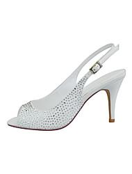 cheap -Women's Wedding Shoes Stiletto Heel Peep Toe Rhinestone / Sparkling Glitter / Button Satin Minimalism Spring &  Fall Black / White / Champagne