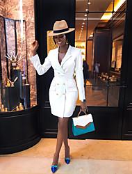 Недорогие -Жен. Изысканный Элегантный стиль Облегающий силуэт Оболочка Платье - Однотонный, Шнуровка Пэчворк Средней длины Черное и белое