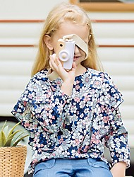 povoljno -Djeca Djevojčice Osnovni Cvjetni print Dugih rukava Bluza Navy Plava