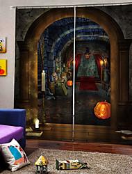 Недорогие -Дьявол замок фон занавес простой дизайн уф-цифровая печать звукоизоляционные плотные шторы для кабинета / спальни / гостиной