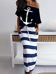 povoljno -Žene Boho Dvodijelni kroj Haljina - Print, Prugasti uzorak Maxi Blue & White