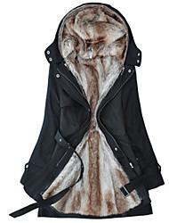 Недорогие -Жен. Повседневные Длинная Куртка, Однотонный Капюшон Длинный рукав Полиэстер Зеленый / Черный / Бежевый