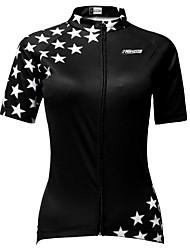Недорогие -21Grams Жен. С короткими рукавами Велокофты Черный / Белый Звезда Велоспорт Джерси Верхняя часть Дышащий Влагоотводящие Быстровысыхающий Виды спорта Терилен Горные велосипеды Одежда / Слабоэластичная