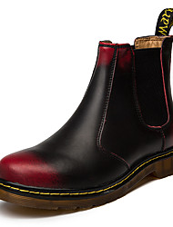 cheap -Unisex Leather Shoes Leather Fall & Winter Boots Mid-Calf Boots Black / Black / Red / Red