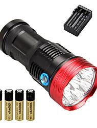 Недорогие -10 Светодиодные фонари Тактический Водонепроницаемый 10000 lm Светодиодная лампа LED 10 излучатели 3 Режим освещения с батарейками и зарядным устройством / Перезаряжаемый / Алюминиевый сплав