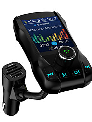 Недорогие -1,77 цветной экран FM-передатчик беспроводной Bluetooth автомобильный комплект громкой связи 360 вращающийся автомобиль mp3