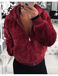Недорогие -Жен. Повседневные Весна & осень Обычная Искусственное меховое пальто, Однотонный Капюшон Длинный рукав Искусственный мех Черный / Бежевый / Винный