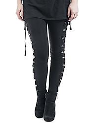 Недорогие -Жен. Уличный стиль Тонкие Jogger Брюки - Однотонный Шнуровка Завышенная Черный S M L