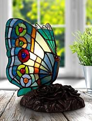 Недорогие -Тиффани стиль бабочки витражи акцент настольная лампа ночник абажур ручной работы для прикроватной спальни гостиной