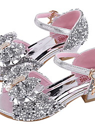 Недорогие -Девочки Удобная обувь Синтетика Сандалии Маленькие дети (4-7 лет) Стразы Серебряный / Розовый Лето
