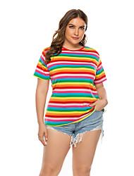 hesapli -Kadın's Tişört Desen, Gökküşağı Temel Gökküşağı