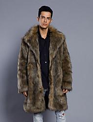 povoljno -Muškarci Dnevno Normalne dužine Faux Fur Coat, Jednobojni Odbačenost Dugih rukava Umjetno krzno Braon US32 / UK32 / EU40 / US34 / UK34 / EU42 / US36 / UK36 / EU44