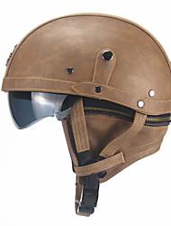 Недорогие -унисекс кожаные шлемы для мотоцикла ретро половина круизный шлем мотоциклетный шлем