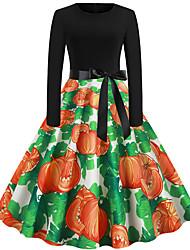 Недорогие -Платья Взрослые Жен. Винтаж Хэллоуин Хэллоуин Фестиваль / праздник Хлопко-полимерная смешанная ткань Зеленый Жен. Карнавальные костюмы / Платье