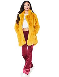 Недорогие -Жен. На выход / Офис Зима Длинная Искусственное меховое пальто, Однотонный Отложной Длинный рукав Искусственный мех Черный / Белый / Пыльная роза