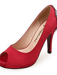 ieftine -Pentru femei Tocuri Toc Stilat Pantofi vârf deschis Piatră Semiprețioasă Satin Dulce / minimalism Primavara vara Alb / Rosu / Albastru / Nuntă