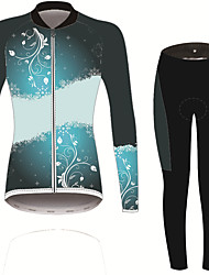 cheap -21Grams Women's Long Sleeve Cycling Jersey with Tights Black / Blue Solid Color Floral Botanical Bike UV Resistant Quick Dry Sports Spandex Solid Color Mountain Bike MTB Road Bike Cycling Clothing