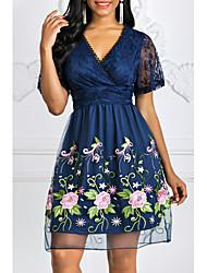 Недорогие -Жен. Элегантный стиль Кружева А-силуэт Платье - Цветочный принт, Кружева Глубокий V-образный вырез До колена