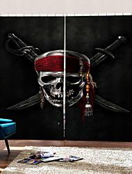 Недорогие -темный стиль украшения окна шторы странный хэллоуин скелет пиратский затемняющий занавес