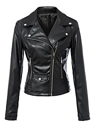 Недорогие -Жен. Повседневные Осень Короткая Кожаные куртки, Однотонный Отложной Длинный рукав Полиуретановая Черный