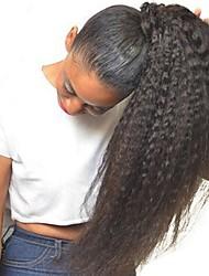 Недорогие -плетение волос Конскиехвостики Женский Натуральные волосы Волосы Наращивание волос Прямой 18 дюймы На каждый день / Черный