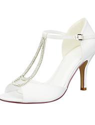 cheap -Women's Wedding Shoes Stiletto Heel Peep Toe Rhinestone / Sparkling Glitter / Button Satin Minimalism Spring &  Fall White / Champagne / Blue