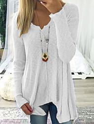 Недорогие -Жен. На каждый день Однотонный Длинный рукав Длинный Пуловер, Глубокий V-образный вырез Весна / Осень Черный / Белый / Розовый S / M / L