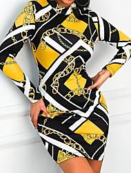 Недорогие -Жен. Классический Облегающий силуэт Оболочка Платье - Геометрический принт Мини