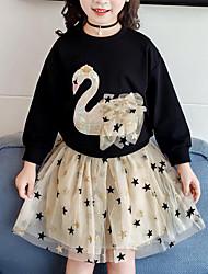 Недорогие -Дети Девочки Активный Уличный стиль На каждый день С принтом Пэчворк Пэчворк С принтом Длинный рукав Обычный Набор одежды Черный