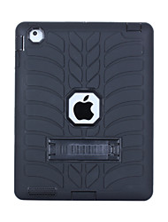Недорогие -Кейс для Назначение Apple iPad 4/3/2 Защита от удара / со стендом Кейс на заднюю панель Однотонный ПК / силикагель