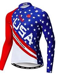 Недорогие -WEIMOSTAR Американский / США Флаги Муж. Длинный рукав Велокофты - Красный + синий Велоспорт Джерси Верхняя часть Устойчивость к УФ Дышащий Влагоотводящие Виды спорта Полиэстер Эластан Терилен