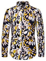 Недорогие -Муж. Пайетки Рубашка Элегантный стиль / преувеличены Контрастных цветов / Графика Цвет радуги