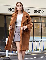 billige -Dame Daglig / Arbeid / Strand Vinter Lang Faux Fur Coat, Ensfarget Aftæpning Langermet Fuskepels Kamel / Kakifarget S / M / L