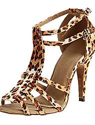 Недорогие -Жен. Танцевальная обувь Сатин Обувь для латины Планка На каблуках Тонкий высокий каблук Персонализируемая Черный / Лиловый / Цвет-леопард / Выступление