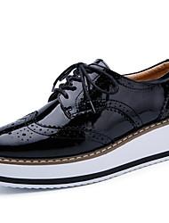 povoljno -Žene Sneakers Ravna potpetica Okrugli Toe Koža Ljeto Crn / Badem / Obala