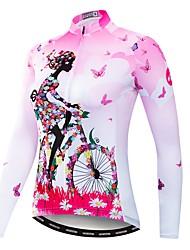 Недорогие -WEIMOSTAR Цветочные ботанический Жен. Длинный рукав Велокофты - Розовый Велоспорт Джерси Верхняя часть Устойчивость к УФ Дышащий Влагоотводящие Виды спорта Полиэстер Эластан Терилен / Слабоэластичная