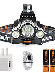 Недорогие -Boruit® B22 Налобные фонари 650 lm Светодиодная лампа Cree® XP-E R2 1 излучатели 4.0 Режим освещения с батарейками и USB кабелем Масштабируемые Для профессионалов Регулируется / Алюминиевый сплав