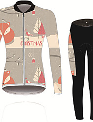 cheap -21Grams Women's Long Sleeve Cycling Jersey with Tights Black / Orange Solid Color Floral Botanical Bike UV Resistant Quick Dry Sports Spandex Solid Color Mountain Bike MTB Road Bike Cycling Clothing