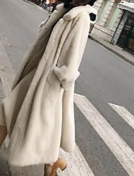 Недорогие -Жен. Повседневные Длинная Искусственное меховое пальто, Однотонный Отложной Длинный рукав Искусственный мех Черный / Белый
