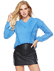 abordables -Femme Couleur Pleine Manches Longues Pullover, Col en V Blanche / Rose Claire / Bleu Taille unique