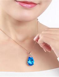 Недорогие -Жен. Синий Кристалл Ожерелья с подвесками «Груша» Свисающие Мода Латунь Позолота Светло-синий 45+5 cm Ожерелье Бижутерия 1шт Назначение Подарок Повседневные