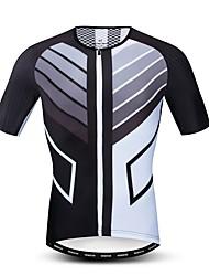 hesapli -JPOJPO Erkek Kısa Kollu Bisiklet Forması Siyah / Beyaz Bisiklet Forma Üstler Nefes Alabilir Hızlı Kuruma Spor Dalları Polyester Elastane Terylene Dağ Bisikletçiliği Yol Bisikletçiliği Giyim / Likra