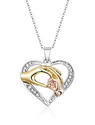 Недорогие -Теплая мама дети пожать руку кулон ожерелье для женщин семьи с любовью сердца день рождения памяти ювелирные изделия благодарны длина цепи 456 см удлиненная цепь регулируемая длина кулон 2,5 см * 2,7