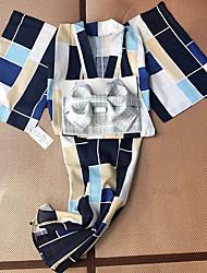 Недорогие -гейша Взрослые Жен. Кимоно Косплэй Kостюмы Кимоно Назначение Для вечеринок Halloween фестиваль Хлопко-льняная смешанная ткань Платье Пояс / лента