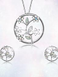 Недорогие -Жен. Серьги-гвоздики Ожерелья с подвесками 3D В форме листа Цветы Стиль Уникальный дизайн Серебрянное покрытие Позолота Серьги Бижутерия Серебряный Назначение Повседневные Офис 1 комплект