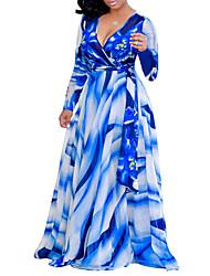 Недорогие -Жен. Богемный Уличный стиль Прямое С летящей юбкой Платье - Цветочный принт В клетку Макси