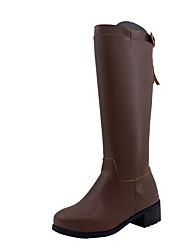 ราคาถูก -สำหรับผู้หญิง บูท Block Heel ปลายกลม แน๊บป้า Leather บู้ทสูงระดับเข่า วินเทจ ฤดูหนาว สีดำ / สีน้ำตาล